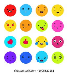 Colored emotions collection. Red anger with blue indifference and orange interest green disgust and yellow confession vector love.