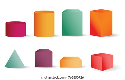 Colored empty 3D cylinders, cone and cubes. Cylinder geometric element, shape geometry figure collection vector illustration for science design isolated on white background