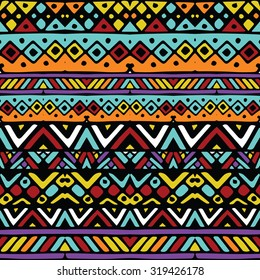 Colored ethnic mexican tribal stripes seamless pattern, hand drawn vector illustration