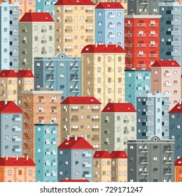 Colored European high-rise buildings - a seamless pattern. Included in swathes panel.
