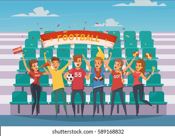 Colored fan rooter buff composition with people who standing in front of the football field bleachers vector illustration