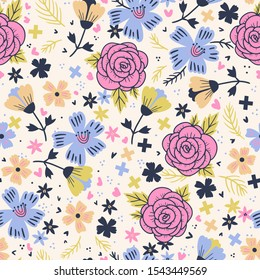 colored fantasy blooms. vector floral seamless pattern with abstract roses and blooms
