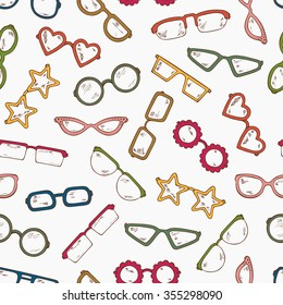 Colored Fashionable accessories. Hand Drawn Doodle Glasses Seamless pattern. Different shapes sunglasses, eyeglasses - Colorful Vector illustration