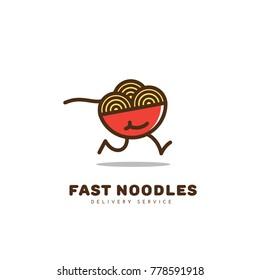 Colored fast noodles logo template design. Vector illustration.