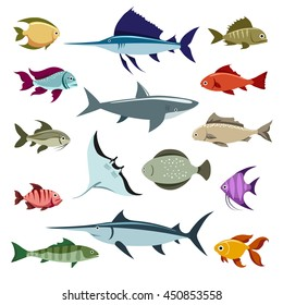 Colored fish vector icons set on white background