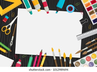 Colored flat design vector illustration of art supplies and art instruments