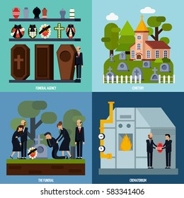 Colored and flat funeral services icon set with funeral agency cemetery crematorium descriptions vector illustration