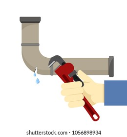 Colored flat icon, vector design. Broken pipe with leaking water and with hand holding wrench. Illustration for sanitary engineering and repairs in house, bathroom, kitchen, plumber.