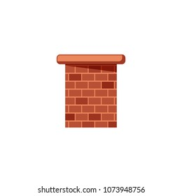 Colored flat icon, vector design with shadow. Brick chimney pipe for illustration of house's part, heating method and roof.