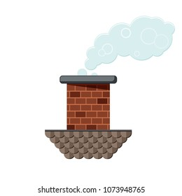 Colored flat icon, vector design with shadow. Brick chimney pipe with roof part and smoke for illustration of house's part, heating method, roof, factory and industry.
