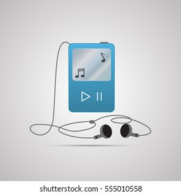 Colored flat icon, vector design with shadow. Player with headphones. Illustration of audio walkman, listen to music, modern device. Symbol musical notes