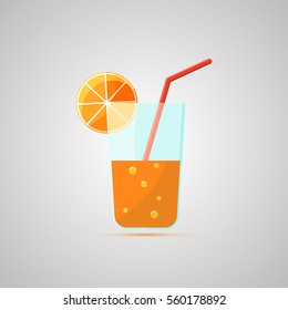 Colored flat icon, vector design with shadow. Glass of juice. Illustration of drinks, fruit juice, orange fresh, healthy lifestyle. Symbol of healthy breakfast