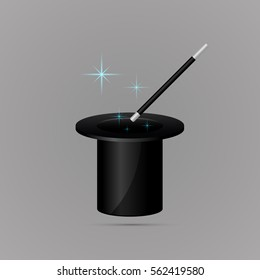 Colored flat icon, vector design with shadow. Magic wand and cylinder hat. Illustration of magic, focus and performance. Symbol of magician