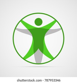 Colored flat icon, vector design. Modern vitruvian man. Sign of human figure enclosed in circle for illustration for medicine, science, health. Symbol of drawing of Leonardo da Vinci