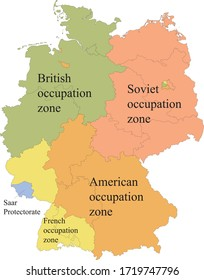 Colored Flat Map of Allied-occupied Germany (1945–1949) with Labels