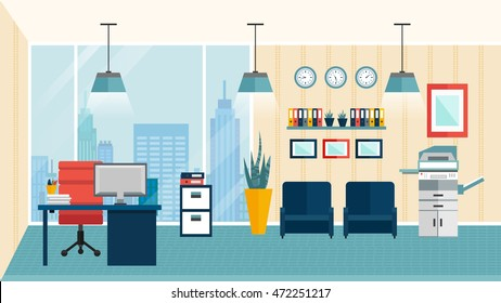 Colored flat modern office interior how to optimize space for favorably arranged workplace vector illustration