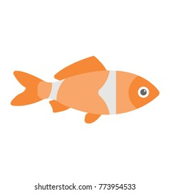 A colored flat vector icon of a fish