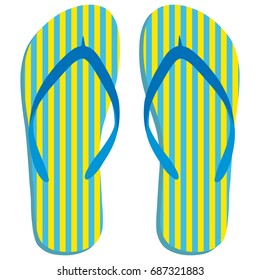Colored flipflops icon. Slippers icon. Flip flop Isolated blue, yellow striped on white background. Vector illustration EPS10.
