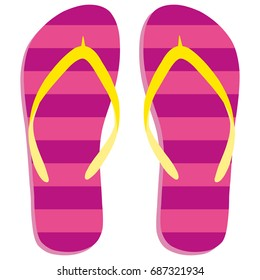 Colored flipflops icon. Slippers icon. Flip flop Isolated pink, yellow striped on white background. Vector illustration EPS10.