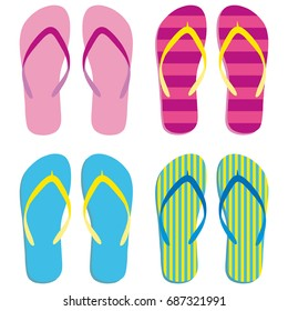 Colored flipflops set icon. Slippers icon. Flip flops Isolated blue, pink, yellow striped on white background. Vector illustration EPS10.