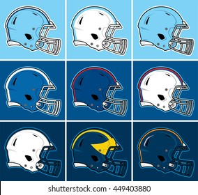 Colored football helmets in blue tones