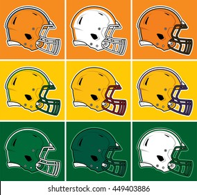 Colored football helmets in orange, yellow, green tones
