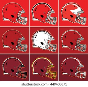 Colored football helmets in red tones