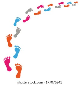 Colored footprints on the white background. Eps 10 vector file.