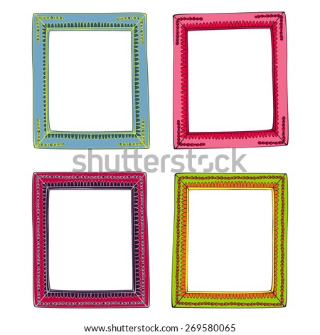Colored Frames Bright Illustration Vector Isolated Stock Vector