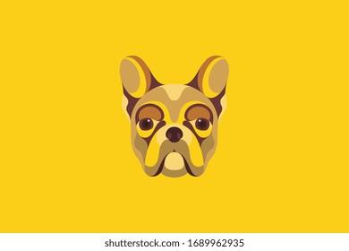 Colored Frech Bulldog vector illustration in portrait mode