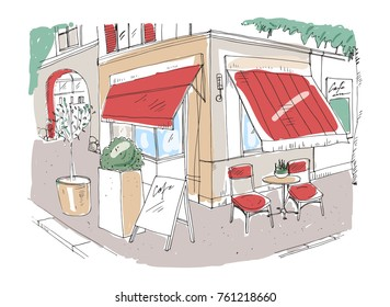 Colored freehand sketch of small sidewalk cafe or restaurant with table decorated with potted plant and chairs standing on city street under awning beside building. Hand drawn vector illustration.