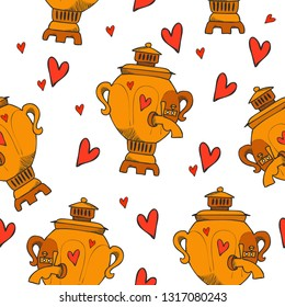 Colored funny cartoon style old russian traditional tea pot seamless pattern. Good as a textile or fabric print, kitchen wear creation, menu and wallpaper, possible to use as a wrapping paper print.