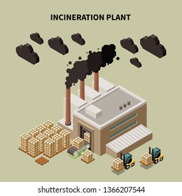 Colored garbage recycling composition with incineration plant headline and isolated warehouse building vector illustration