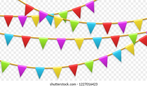 Colored garland flags isolated on transparent background. Carnival, birthday, celebration, party, new year or festival concept. Vector illustration