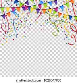 colored garlands, streamers and confetti background for party or festival usage with transparency in vector file