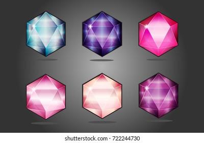 colored gems / vector illustration