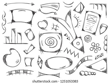 colored geometric shapes hand drawn. ellipse, round, scribble, sketch, spiral vector
