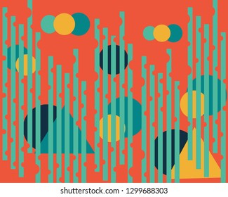 colored geometric shapes on orange background with green static lines
