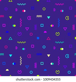 Colored geometric shapes on ultraviolet background. Stylish abstract seamless pattern in trendy style. Vector illustration