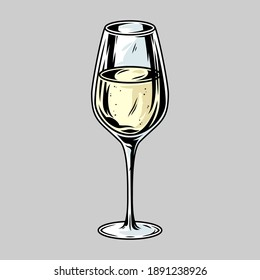 Colored glass of white wine alcohol liquid vector monochrome cocktail bar menu