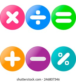 Colored glossy buttons with mathematical sign with drop shadow
