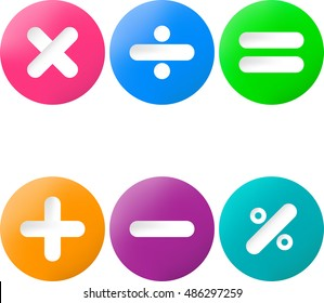 Colored glossy buttons with mathematical sign with drop shadow.