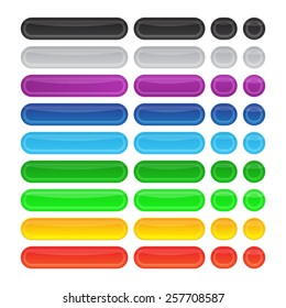 Colored glossy internet web buttons set. Rectangle and round shapes on the white background
