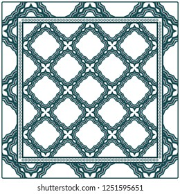 Colored Graphic Pattern Card With Geometric Ornament. Vector Illustration. For Print On Fabric, Papper, Silk Neck Scarf, Kerchief Design.