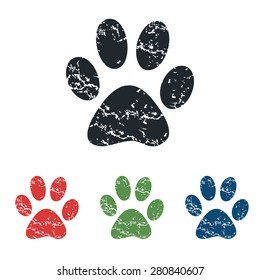 Colored grunge icon set with image of animal paw print, isolated on white