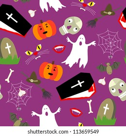Colored halloween seamless pattern in simple style