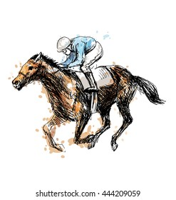 Colored hand drawing a rider with a horse. Vector illustration