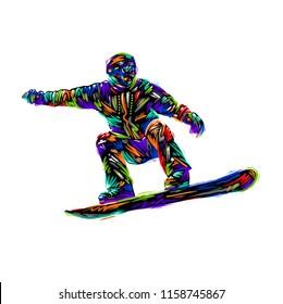 Colored hand drawing sketch snowboarder  Vector illustration snowboard design art