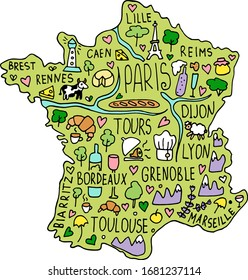 Colored Hand drawn doodle France map. city names lettering and cartoon landmarks, tourist attractions cliparts. travel, trip comic infographic poster, banner concept design. Paris, lion.