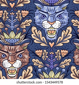 colored hand drawn tigers. asian spirit in vector seamless pattern with bright plants and tiger heads on a blue background.